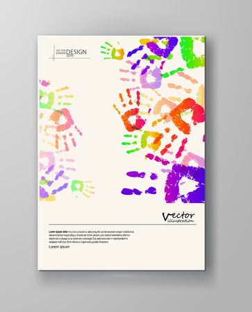 Abstract design templates. Brochures unusual color handprint style. Vintage frames and backgrounds. Vector Illustration.