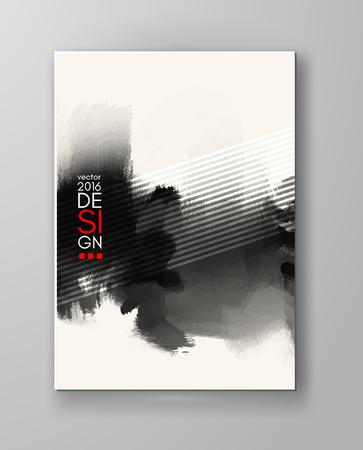 Abstract inkblot background. Monochrome grunge paint design. Vector illustration. Vectores