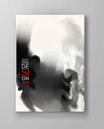 ink: Abstract inkblot background. Monochrome grunge paint design. Vector illustration. Illustration
