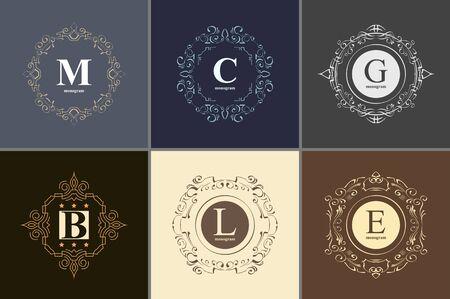 art logo: Set the elegant monogram design template. Luxury calligraphic emblem frame ornament. Line logo design. Vector illustration good for Boutique, Restaurant, Cafe, Heraldic, Hotel, Fashion, Jewelry. Illustration
