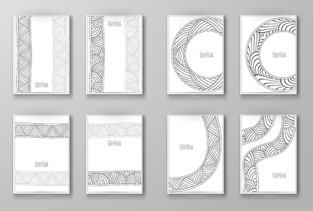 notebook paper background: Business design templates. Brochure with Hand Drawn Doodle Border. Doodle Abstract Vintage. Art Vector Illustration.