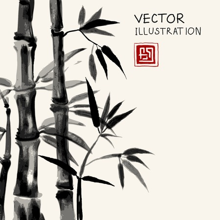 Traditional sumi-e background with watercolor bamboo. Hand-drawn with black ink. Vector illustration.