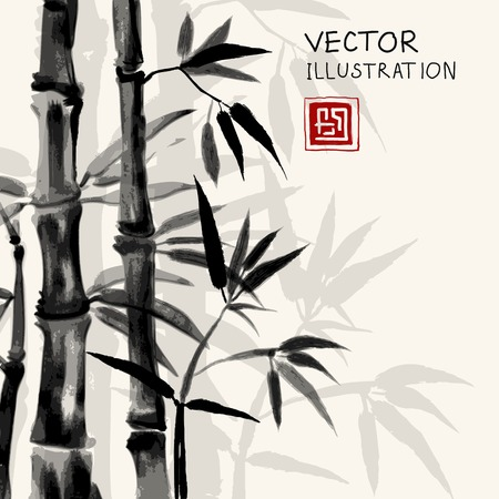 sumi e: Traditional sumi-e background with watercolor bamboo. Hand-drawn with black ink. Vector illustration.