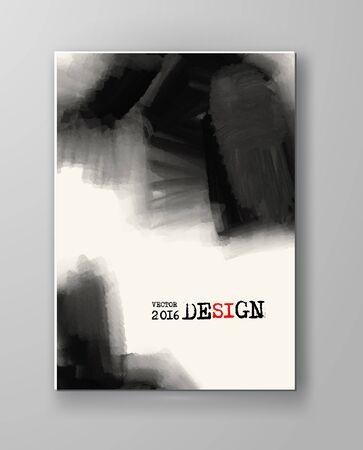 ink: Brochure abstract inkblot background. Monochrome grunge paint design. Vector illustration.