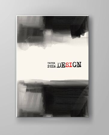 paint: Brochure abstract inkblot background. Monochrome grunge paint design. Vector illustration.