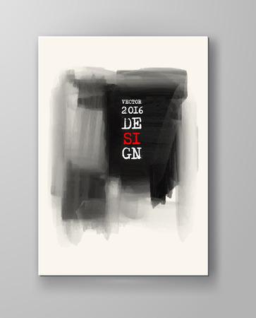 Brochure abstract inkblot background. Monochrome grunge paint design. Vector illustration.