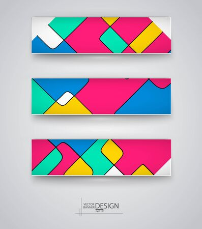 Business design templates. Set of Banners with Multicolored Backgrounds. Geometric Abstract Modern Vector Illustration.
