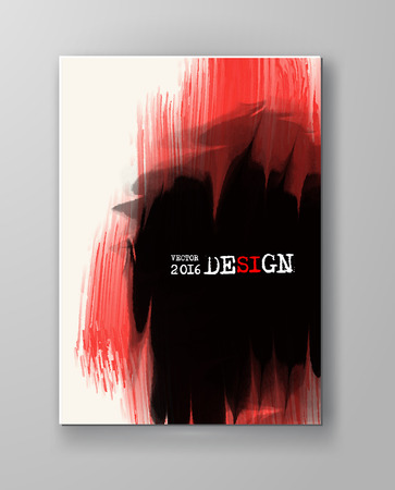 ink spill: Business design templates. Brochure with Red and Black Paint Backgrounds. Abstract Modern Vector Illustration.