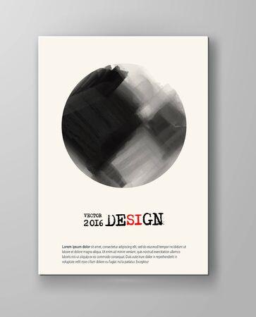 inkblot: Brochure abstract inkblot background. Monochrome grunge paint design. Vector illustration.