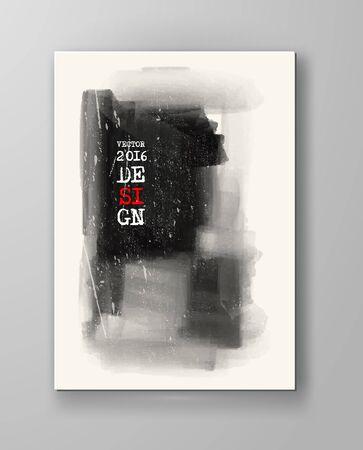 monochrome: Monochrome Ink Paint Vector. Illustration