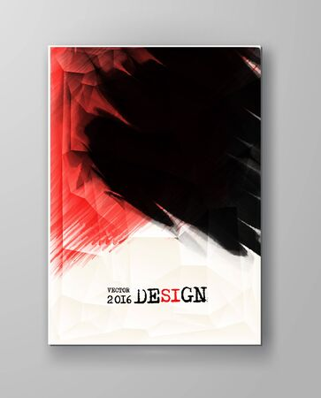 abstract black: Business design templates. Brochure with Red and Black Paint Backgrounds. Abstract Modern Vector Illustration.
