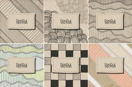 carton: set vector del Doodle del modelo. Textura con estilo abstracto con rejilla natural. Esbozar el diseño gráfico. Ilustración del vector. Vectores