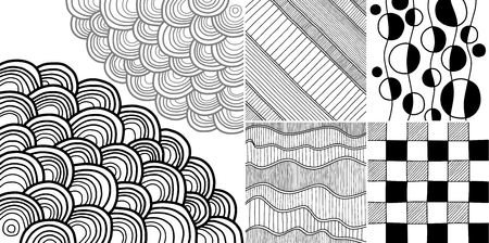 strip design: Vector doodle pattern set. Abstract stylish texture with natural grid. Sketch graphic design. Vector Illustration. Illustration