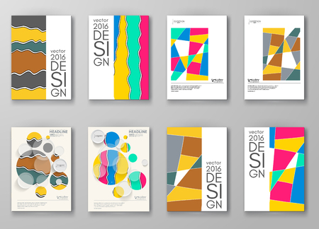 web template: Set of abstract design templates. Brochures unusual color shapes style. Vintage frames and backgrounds. Vector Illustration.