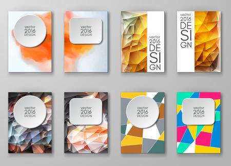 plantillas de diseño de negocios establecidos. Folleto con fondos multicolores. Ilustración moderna abstracta del vector.