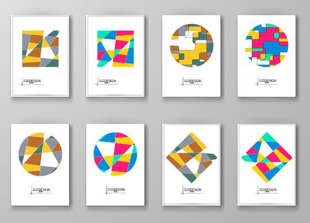 color design: Set of abstract design templates. Brochures unusual color shapes style. Vintage frames and backgrounds. Vector Illustration.