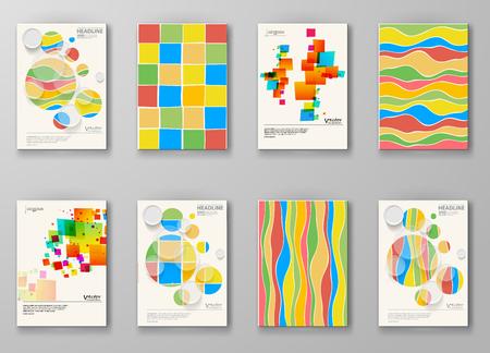 Set di modelli astratti. Opuscoli stile forme colore insolito. Cornici d'epoca e sfondi. Illustrazione vettoriale.