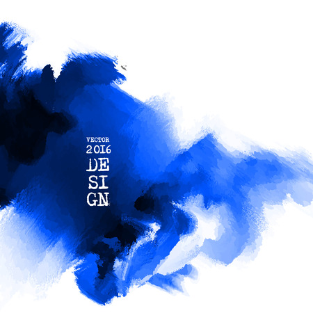 Abstract stylish background blue ink paint. Blue blot isolated on white square. Grunge watercolor banner. Painting. Wallpaper with empty space for your text. Vector illustration. Ilustracja