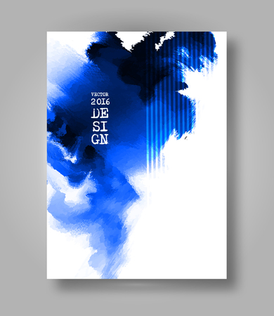 ink: Abstract stylish Brochure blue ink paint. Blue blot isolated on white background. Grunge watercolor banner. Painting. Wallpaper with empty space for your text. Vector illustration.