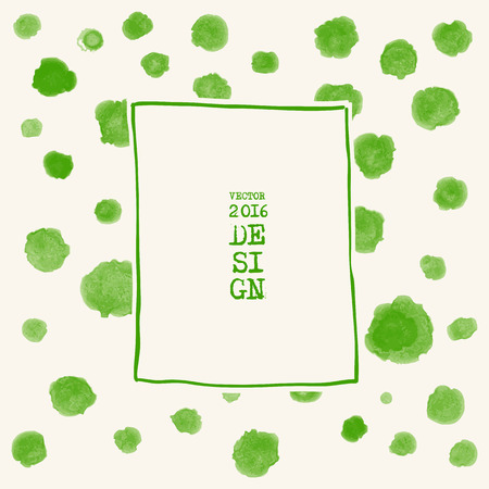 green ink: Abstract stylish background green ink paint. Green blot isolated on white square. Grunge watercolor banner. Painting. Wallpaper with empty space for your text. Vector illustration.