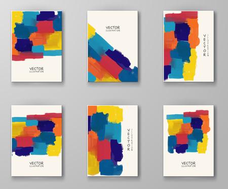 Zestaw szablonów biznesowych. Broszura z kolorowymi farbami tła. Streszczenie nowoczesne ilustracji wektorowych. Ilustracje wektorowe