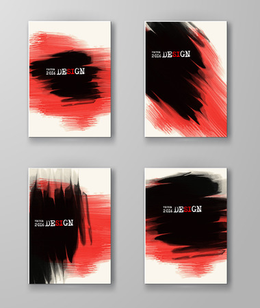 red black: Abstract stylish background black red ink paint. Black red blot isolated on white. Grunge watercolor banner. Painting. Wallpaper with empty space for your text. Brochure set. Vector illustration.