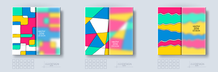 frosted: Multicolor Design Templates set with Frosted Glass Insert. Geometric Triangular Abstract Modern Vector Background.