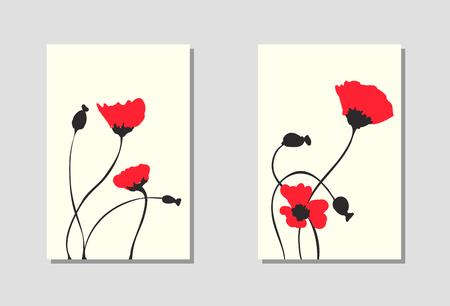 Levendige bloemen verticale banners van poppy bloemen en bloesems geïsoleerd op een witte achtergrond. Behang met lege ruimte voor uw tekst. Ontwerp met rode bloemen. Vector illustratie.