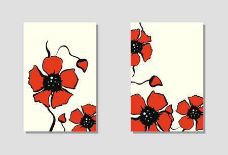 Vibrant floral vertical banners of poppy flowers and blossoms isolated on white background. Wallpaper with empty space for your text. Red flower design. Vector illustration.