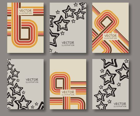 header image: Business design templates. Abstract Sale pattern square textures. Brochure with Color Retro Backgrounds. Wallpaper with empty space for your text. Vector hand drawn illustration Illustration