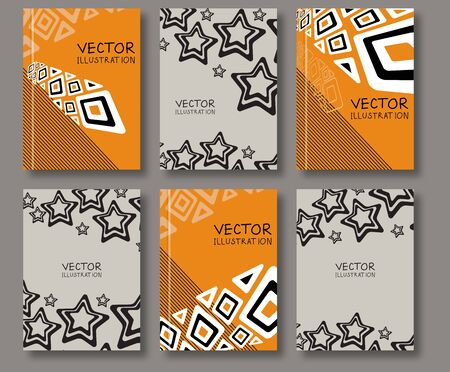 with space for text: Business design templates. Abstract ethnic pattern line and star textures. Brochure with Color Retro Backgrounds. Wallpaper with empty space for your text. Vector hand drawn illustration Illustration