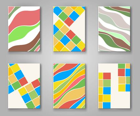 retro wallpaper: Business design templates. Abstract pattern square and wave textures. Brochure with Color Retro Backgrounds. Wallpaper with empty space for your text. Vector hand drawn illustration