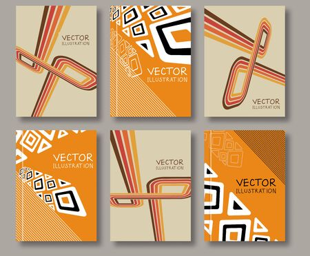 header image: Business design templates. Abstract ethnic pattern line textures. Brochure with Color Retro Backgrounds. Wallpaper with empty space for your text. Vector hand drawn illustration