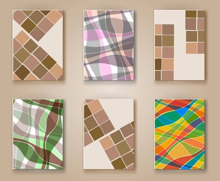 header image: Business design templates. Abstract pattern square and wave textures. Brochure with Color Retro Backgrounds. Wallpaper with empty space for your text. Vector hand drawn illustration