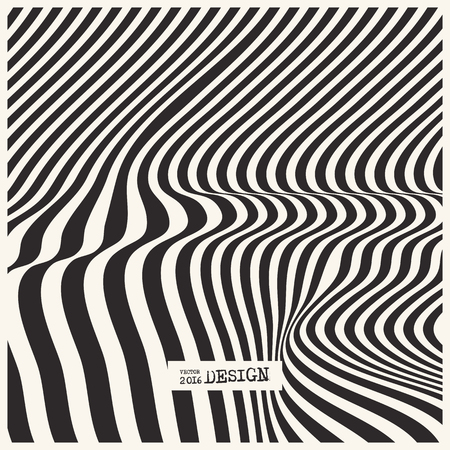 curve: Design monochrome waving lines illusion background. Abstract stripe distortion backdrop. Zebra style decoration. Wallpaper with empty space for your text. Vector illustration