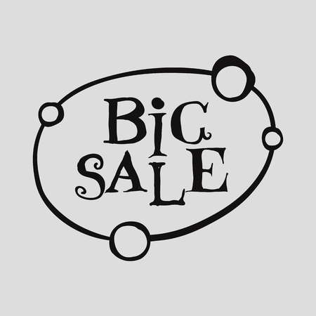 Big Sale black letter on white background. Lettering shopping design. Super Sale and special offer concept. Usable as discount banners ,badges, cards, posters.Vector illustration. Illustration