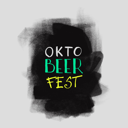 black grunge background: Oktoberfest typographic design. Usable as greeting cards, posters, banner, badge, label. Hand Lettering on grunge ink background. Black dirty decoration with text. Vector illustration.