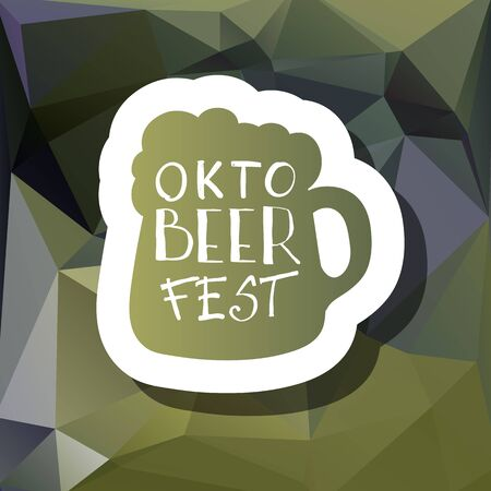 Oktoberfest typographic design on triangle background. Decoration usable as banner, cards, posters, label, badge. Holiday Beer cup Illustration With Lettering Composition.