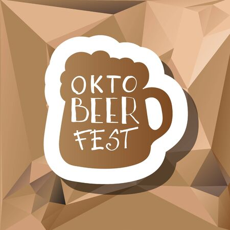 wiesn: Oktoberfest typographic design on triangle background. Decoration usable as banner, cards, posters, label, badge. Holiday Beer cup Illustration With Lettering Composition.