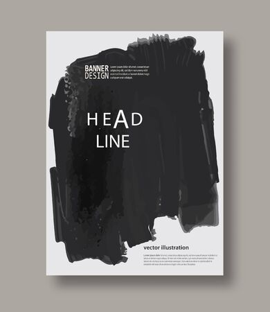 dripping: Black and gray abstract design. Ink paint on brochure, Brush element on white. Grunge banner. Simple composition. Liquid ink. Background for banner, card, poster, identity, web design. Illustration