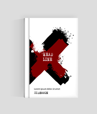 Black and blood cross abstract design. Ink paint on brochure, Monochrome element isolated on white. Grunge paints. Liquid ink. Background for card, poster, identity,web design. Illustration