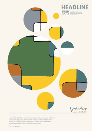 Abstract design templates. Brochures unusual color shapes style. Vintage frames and backgrounds. Illustration.