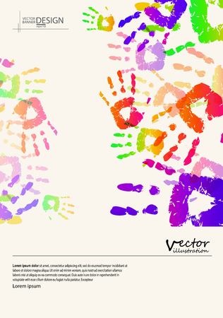 peace stamp: Abstract design templates. Brochures unusual color handprint style. Vintage frames and backgrounds. Illustration.