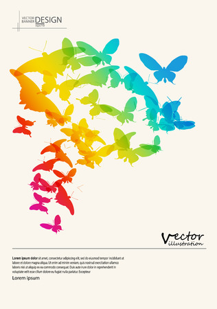 Abstract colour background with butterfly shapes.illustration. Illustration