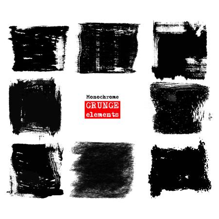set of black brush strokes. Grunge isolated elements. Smoke brushes for your design. Ink splash. Acrylic stamp. illustration