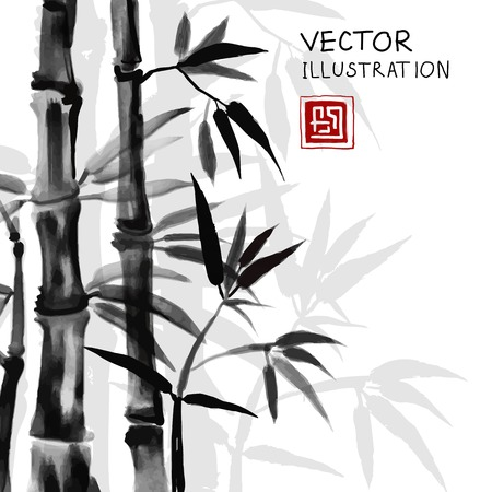 Traditional sumi-e background with watercolor bamboo. Vector Illustration