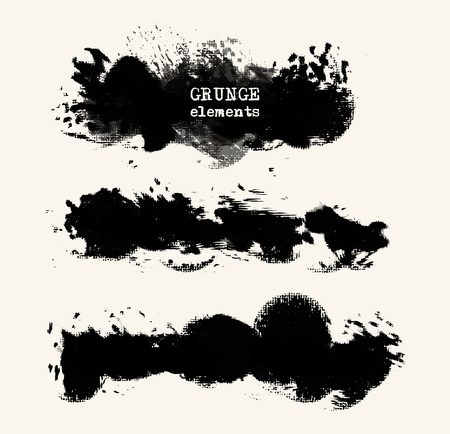 set of black brush strokes. Grunge isolated elements. Smoke brushes for your design. Ink splash. Acrylic stamp. illustration