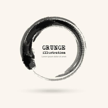 negro tinta trazo redondo sobre fondo blanco. ilustración vectorial de manchas de grunge círculo