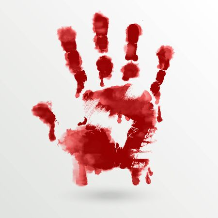 human hand: Vector red paint human hand or handprint on white background for art