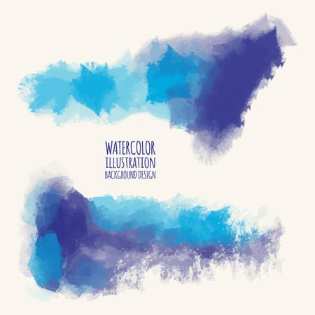 Vector set van blauwe aquarel penseelstreken. Geïsoleerd grunge elementen. Smoke borstels voor uw ontwerp. Freehand. Ink splash. Acryl stempel. vector illustratie